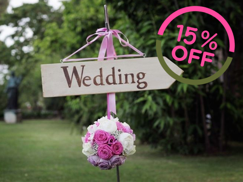 15% off on<br /> Friday &amp; Sunday Weddings