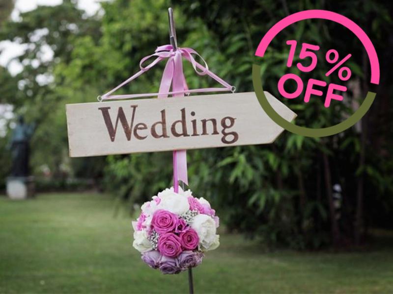 Preisnachlass von 15%<br /> auf Hochzeiten<br /> an Freitagen und Sonntagen