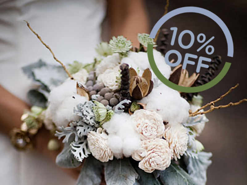 10% off on<br /> winter weddings,<br /> October to March